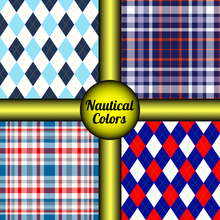 Set of four seamless argyle & tartan plaid patterns in nautical  naval palette. Classic marine look prints for textile design, wrapping & scrapbooking paper & vintage frames & backgrounds. Illustration