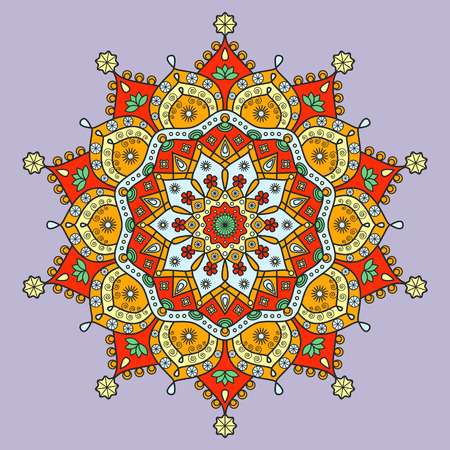 meditative: Mandala pattern in red, orange, green, yellow & blue on pale violet background.