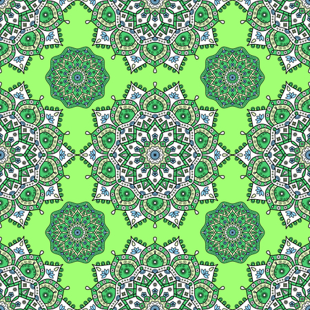 Seamless oriental pattern. Bright festive ornament of floral mandala medallions in green, white, blue & pale yellow on lime green background. Vettoriali