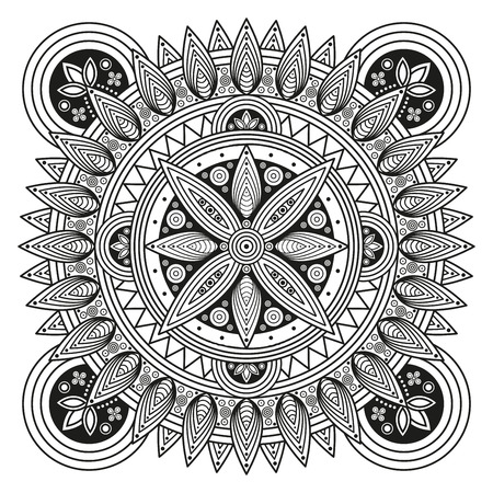 embellishments: Hindu mandala pattern. Oriental decorative medallion. Ethnic ornament for mural art prints, mehndi style mandala tattoos, boho flourishes & embellishments. Coloring book pages mandala illustration.