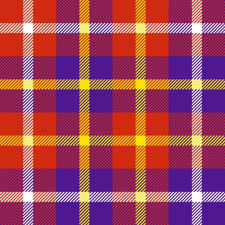 Seamless plaid pattern in red, purple, white and yellow.