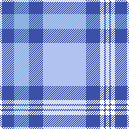 swatches: Seamless tartan plaid pattern. White, soft  and periwinkle blue stripes on dark moderate blue background.