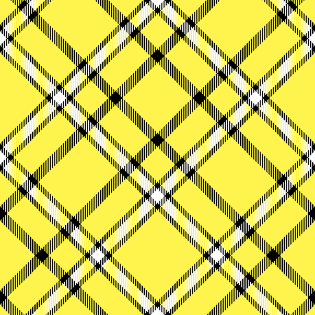 Seamless tartan plaid pattern in yellow, black and white.