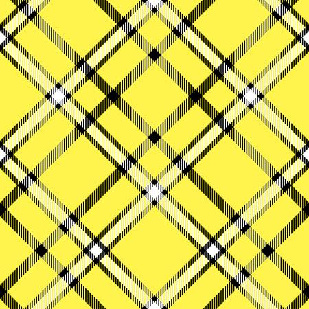 Seamless tartan plaid pattern in yellow, black and white. 免版税图像 - 80982924