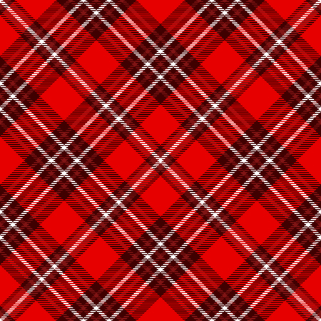 Seamless tartan plaid pattern. Checkered fabric texture print in red  white.