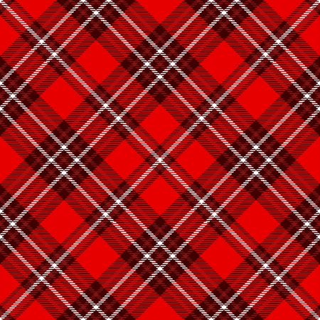 Seamless tartan plaid pattern. Checkered fabric texture print in red  white.