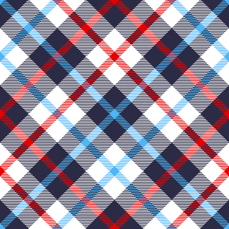 Seamless tartan plaid pattern in blue, red and white