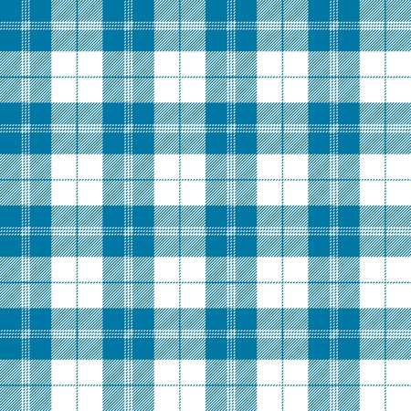 Seamless tartan plaid pattern in tealish blue and white.