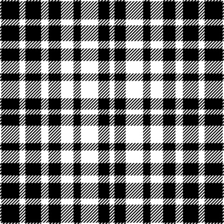 Seamless tartan plaid pattern in black and white.