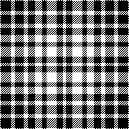 Seamless tartan plaid pattern in black and white.