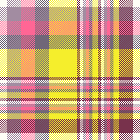 Madras plaid pattern in purple, fuchsia pink, yellow and white.