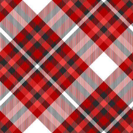 Plaid pattern in shades of red, black and white.