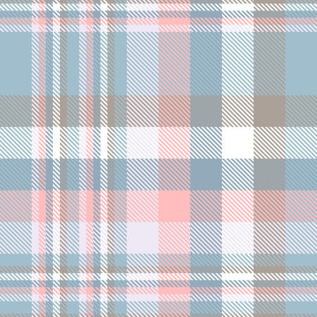 Plaid pattern in pastel blue, pink, taupe and white. Illustration