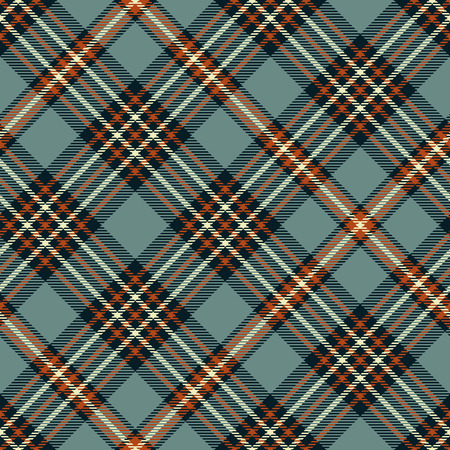 Plaid pattern in grayish blue, sienna red, blackish navy and cream.