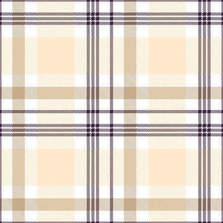 Plaidpatroon in perzikbeige, bruin en wit. Vector Illustratie