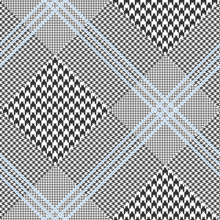 Prince of Wales pattern in classic black and white with triple pale blue overcheck. Seamless glen plaid fabric texture.