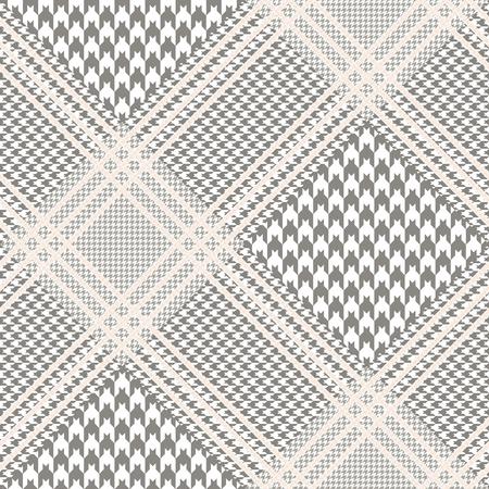 Motif Prince de Galles taupe et blanc avec surjet beige. Texture de tissu à carreaux Glen sans couture. Vecteurs