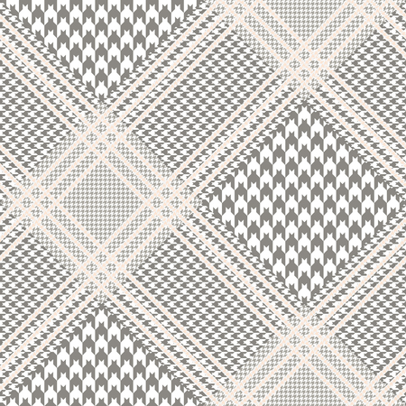 Prince of Wales pattern in taupe and white with beige overcheck. Seamless glen plaid fabric texture.  イラスト・ベクター素材