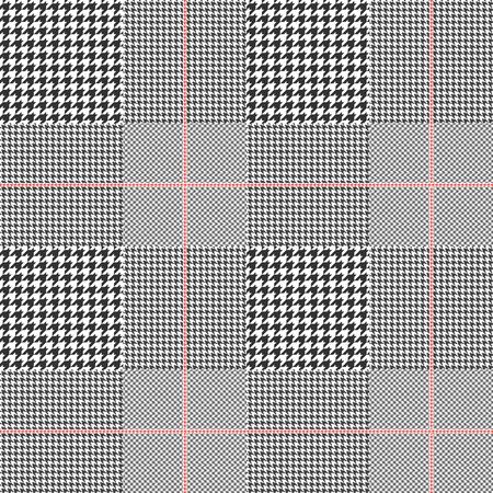 Patrón Príncipe de Gales en blanco y negro clásico con sobrecheta roja. Textura de tela escocesa de glen sin costuras.