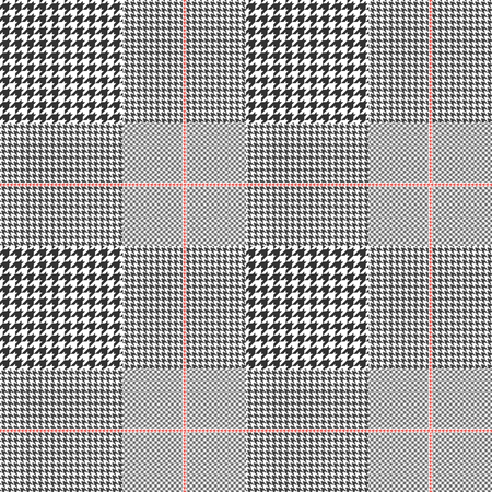 Prince of Wales pattern in classic black and white with red overcheck. Seamless glen plaid fabric texture. Vettoriali