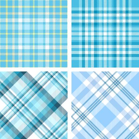 Conjunto de cuatro patrones de cuadros sin costuras en paleta de azul pastel.