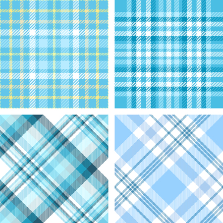Set of four seamless plaid patterns in palette of pastel blue.