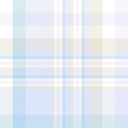 Plaid pattern in pastel blue, tan and white.