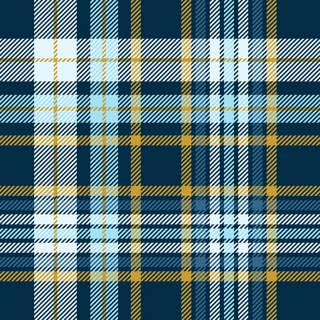 Plaid pattern in dark teal green, robin egg blue and mustard yellow. Stock Illustratie