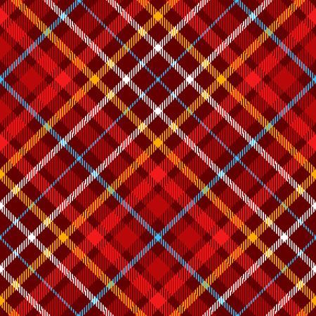 Seamless plaid pattern in palette of red, orange, burgundy, blue and white.
