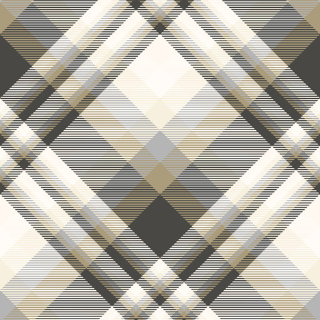 Seamless plaid pattern in black, tan, cream and grey.