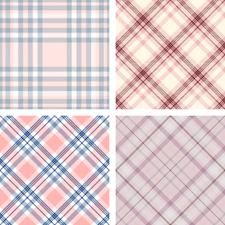 Set of four seamless plaid patterns in shades of pink. Illustration
