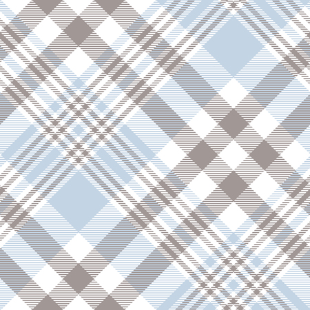 Plaid pattern in pastel blue, brown and white.