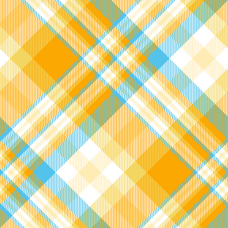 Madras plaid pattern in orange, blue and white.