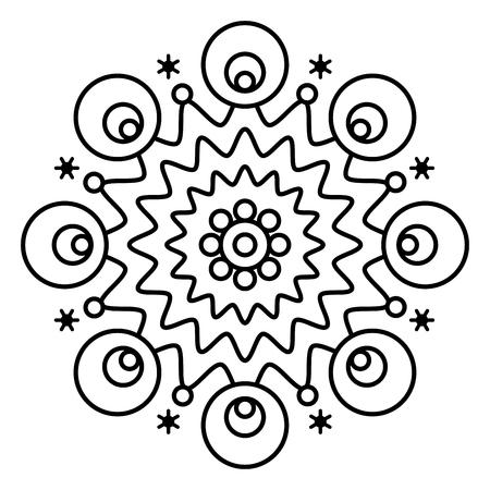 Einfacher Blumenmandaladruck. Einfache Malvorlagenillustration für Kinder und erwachsene Anfänger. Vektorgrafik