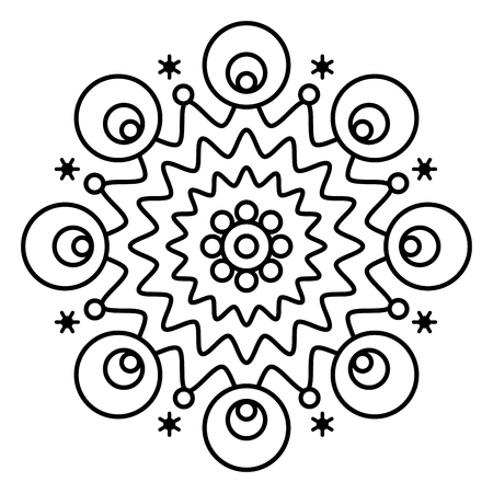 Simple floral mandala print. Easy coloring page illustration for kids and adult beginners. Vector Illustratie