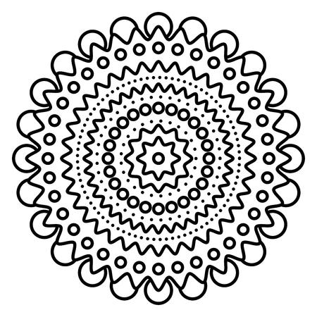 Einfacher Blumenmandaladruck. Einfache Malvorlagenillustration für Kinder und erwachsene Anfänger.