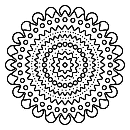 Simple floral mandala print. Easy coloring page illustration for kids and adult beginners.