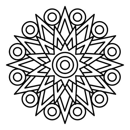 Prosty nadruk mandali. Łatwa ilustracja do kolorowania dla dzieci i początkujących dorosłych. Ilustracje wektorowe