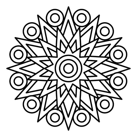 Simple mandala print. Easy coloring page illustration for kids and adult beginners. Vector Illustratie