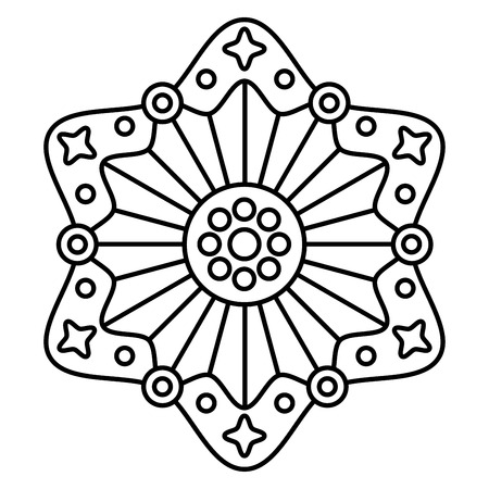 Simple mandala print. Easy coloring page illustration for kids and adult beginners.