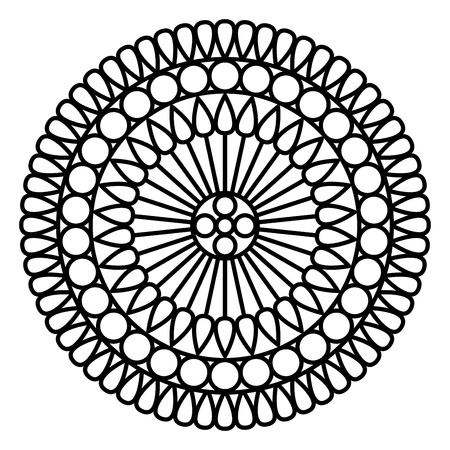 Simple mandala print. Easy coloring page illustration for kids and adult beginners. Banco de Imagens - 111754678