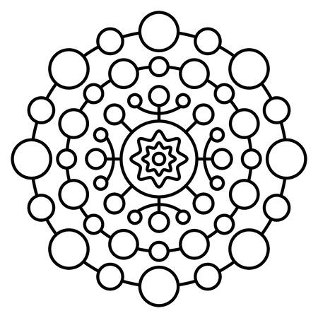 Einfacher Mandala-Druck. Einfache Malvorlage für Kinder und erwachsene Anfänger.