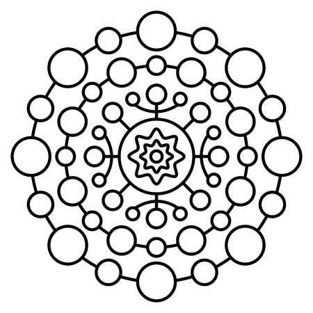Simple mandala print. Easy coloring page for kids and adult beginners.