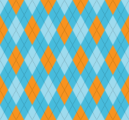 Seamless argyle pattern. Diamond print in blue and orange check with black stitch. Illustration