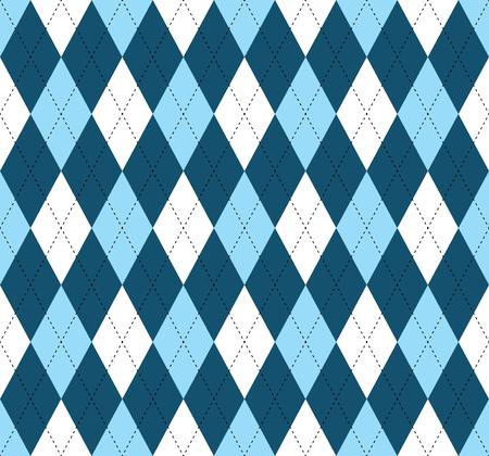 Seamless argyle pattern. Diamond print in dark blue, soft blue and white check with black stitch. Vettoriali