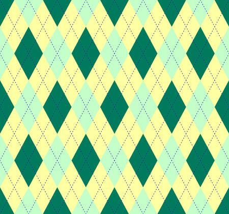 Seamless argyle pattern. Diamond check print in dark green, mint and yellow.