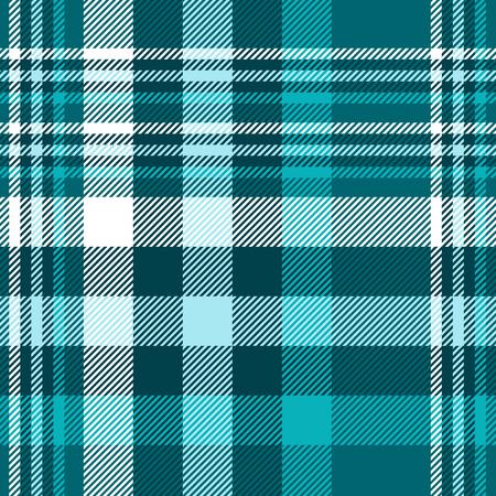 Patrón de cuadros en tonos verde azulado, azul y blanco. Ilustración de vector