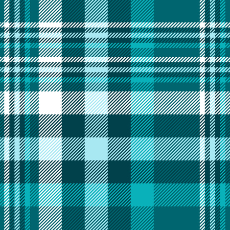 Plaid pattern in shades of teal green, blue and white. 矢量图像