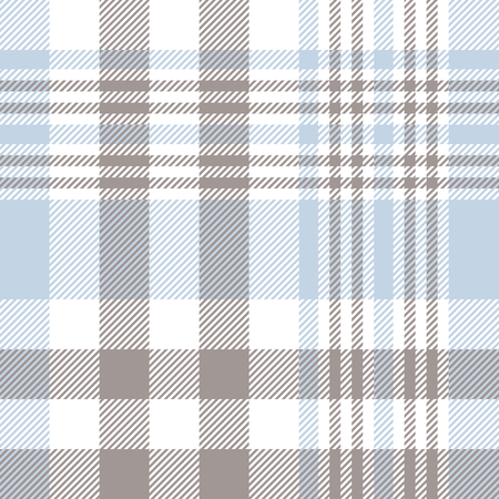 Plaid pattern in pale blue, taupe brown and white. Illustration