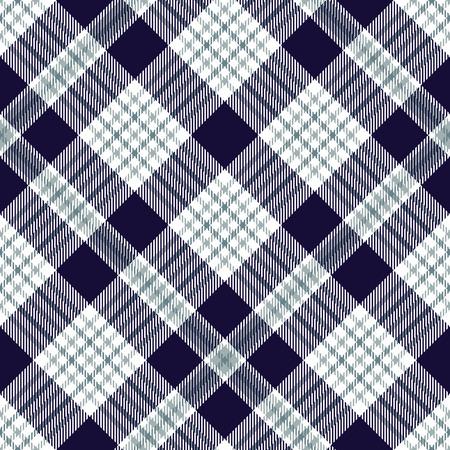 Plaid pattern in indigo, greenish blue and white.